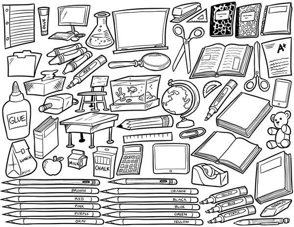 School Supplies Images to Color School Supplies Coloring Page Coloringpages