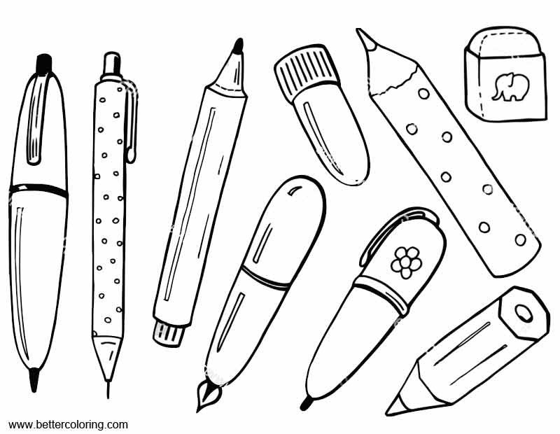 School Supplies Images to Color School Supplies Coloring Pages with Eraser Free