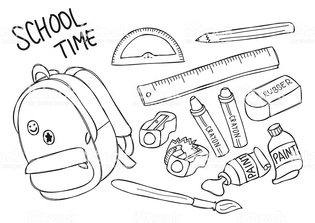 School Supplies Images to Color Set School Supplies Line Art Stock Vector Art & More