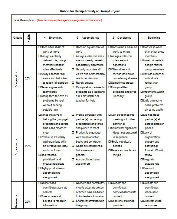 Science Project Rubric Template Rubric Template 47 Free Word Excel Pdf format