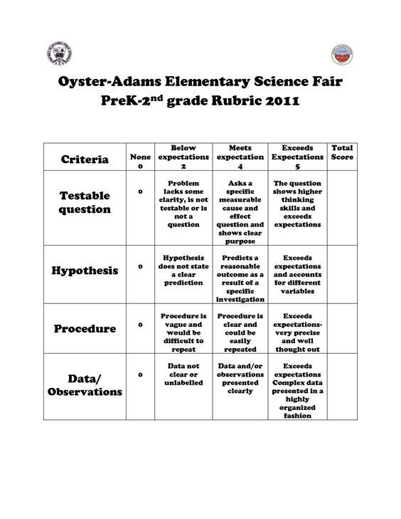 Science Project Rubric Template Science Fair K 2