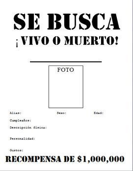 Se Busca Template Se Busca Wanted Poster Beginner Middle School Spanish