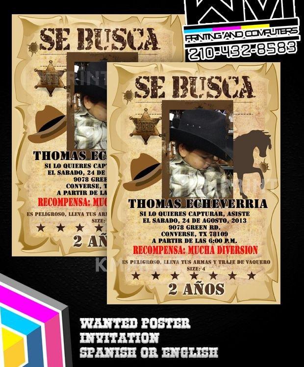 Se Busca Template Wanted Poster Invitation Se Busca Invitaciones Vaqueras