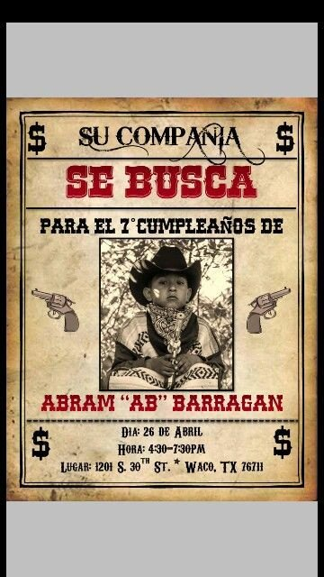 Se Busca Template Western themed Invitation In Spanish
