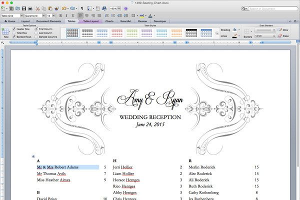 Seating Chart Template Word Free Printable Wedding Reception Templates