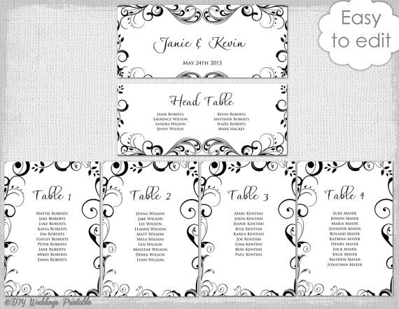 Seating Chart Template Word Wedding Seating Chart Template Black and White