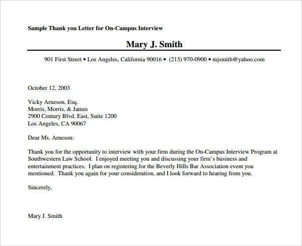 Second Interview Thank You Sample Thank You Letter after Second Interview Download