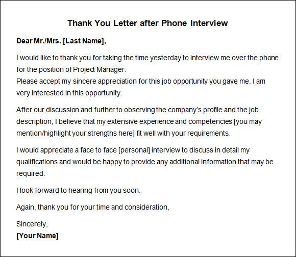 Second Interview Thank You Thank You Letter after Interview 10 Free Download for