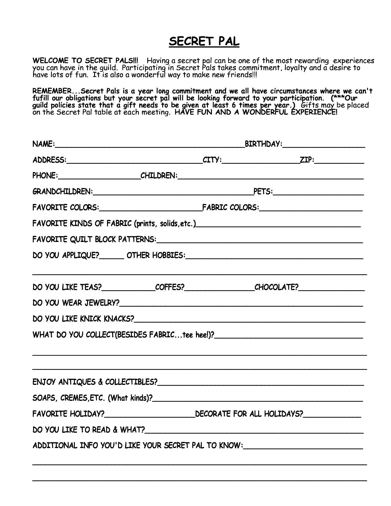 Secret Pal Questionaire 7 Best Of Secret Sister forms Printable Printable