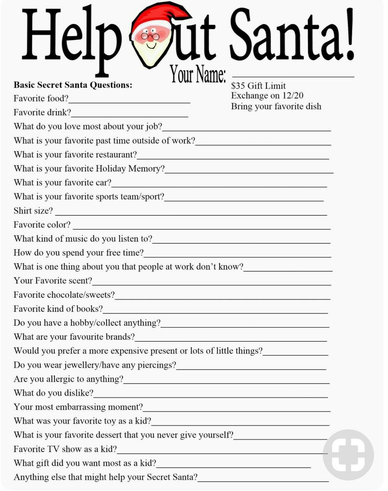 Secret Pal Questionaire Help Out Santa A Questionnaire