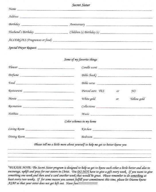 Secret Pal Questionaire Secret Sister Questionnaire