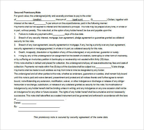 Secured Promissory Note Template 35 Promissory Note Templates Doc Pdf
