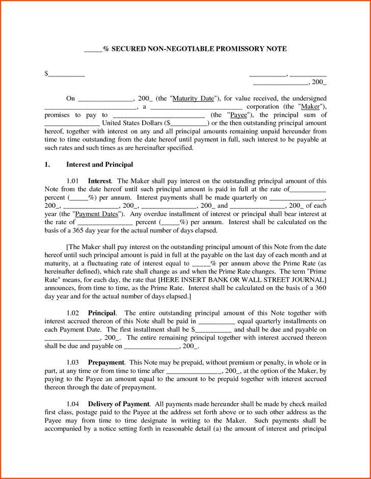 Secured Promissory Note Template 38 Promissory Note Templates Free Download