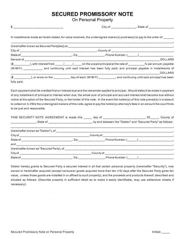 Secured Promissory Note Template 8 Secured Promissory Note Template Free Download