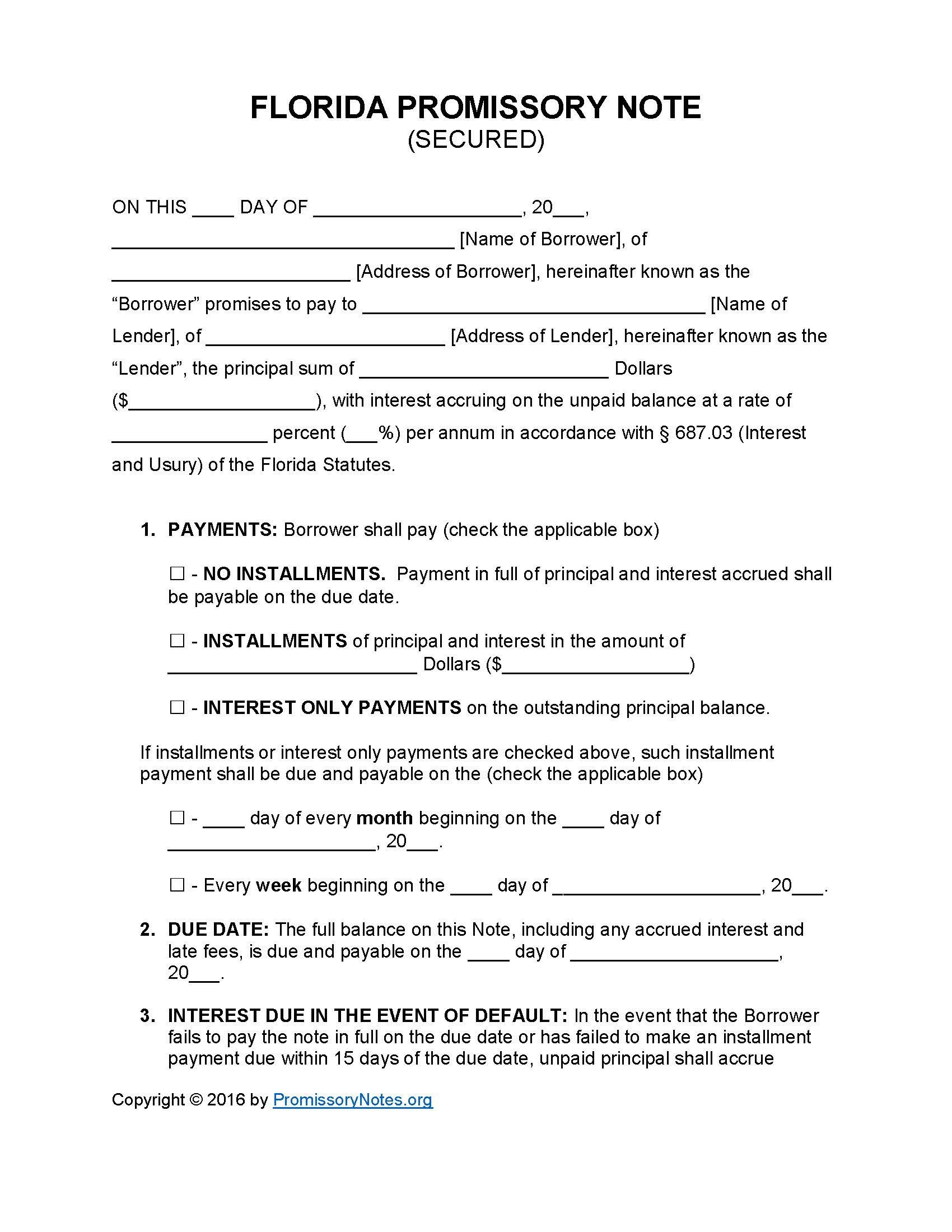 Secured Promissory Note Template Florida Secured Promissory Note Template Promissory