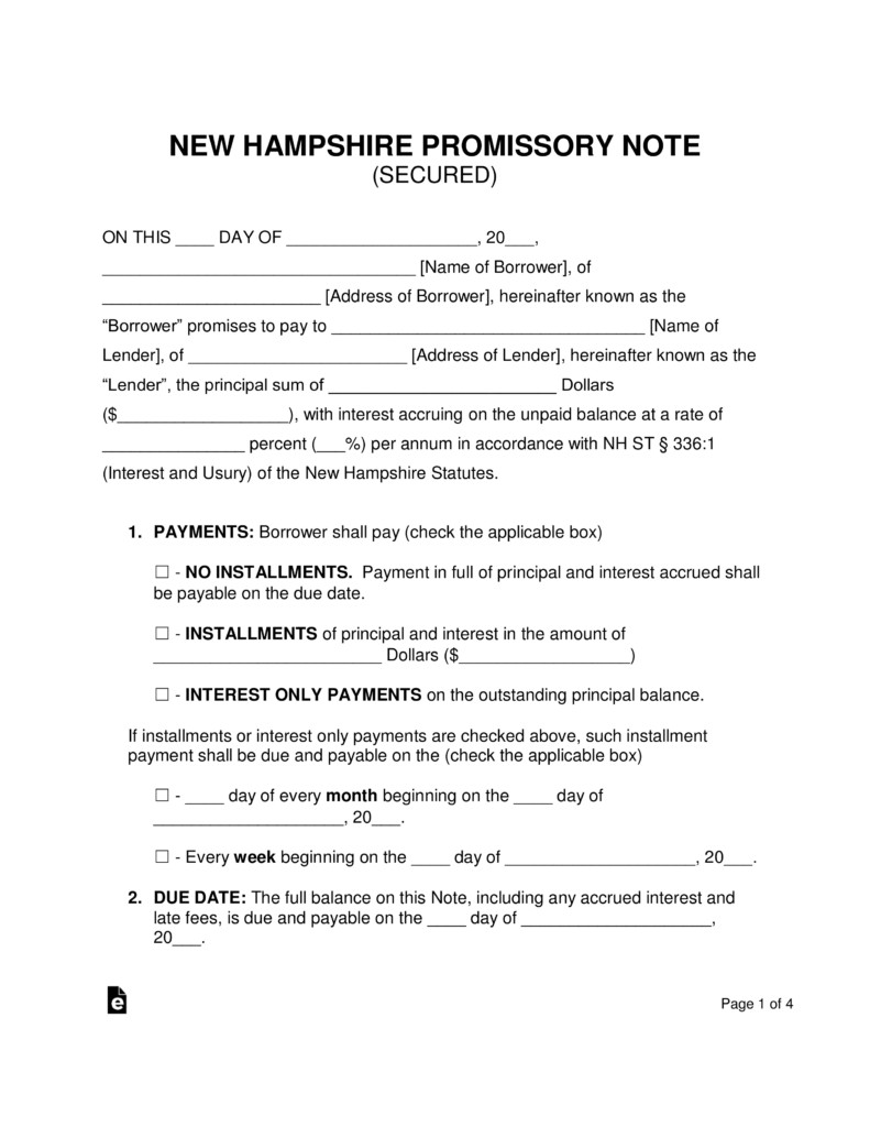 Secured Promissory Note Template Free New Hampshire Secured Promissory Note Template Word