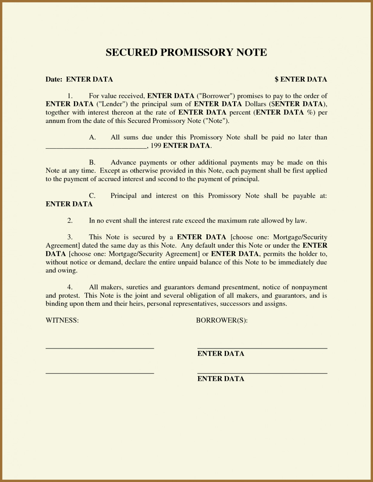 Secured Promissory Note Template Free Promissory Note Template Word Pdf