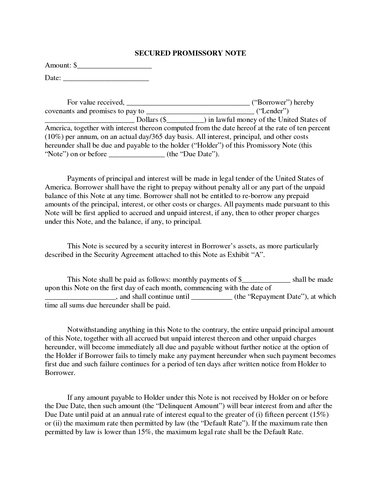 Secured Promissory Note Template Promissory Note with Collateral – Emmamcintyrephotography