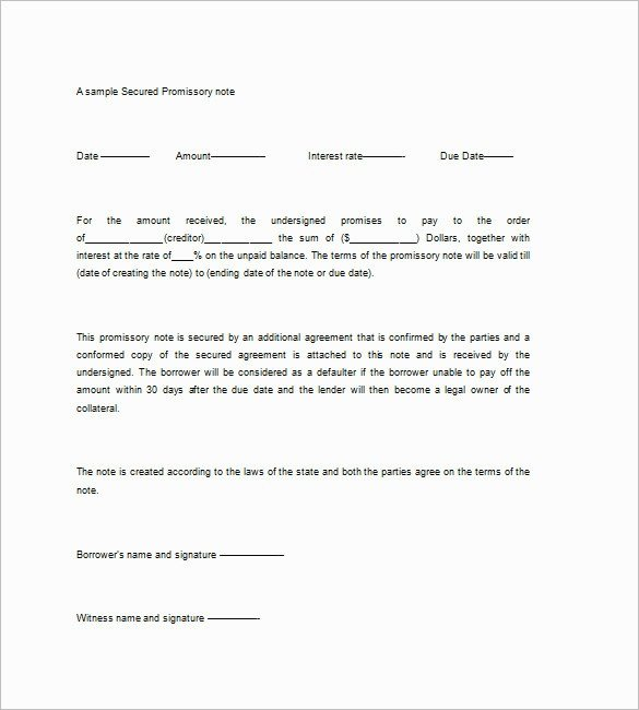 Secured Promissory Note Template Secured Promissory Note Template Five Features Secured