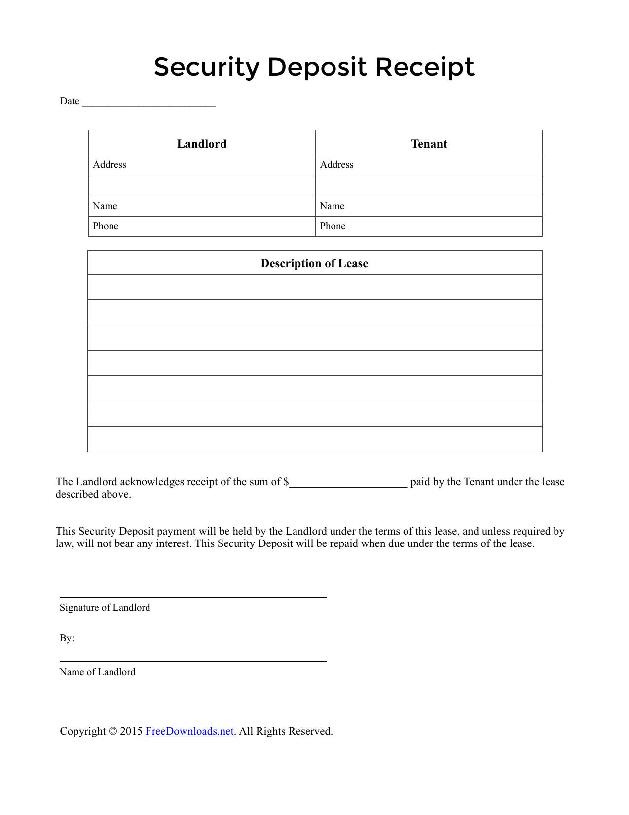 Security Deposit Receipt Template 002 Template Ideas Security Deposit Rental Payment Receipt
