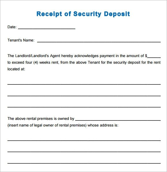 Security Deposit Receipt Template 10 Printable Receipt Templates – Free Samples Examples
