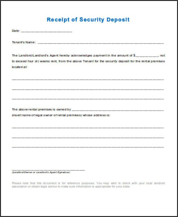 Security Deposit Receipt Template 39 Free Receipt forms
