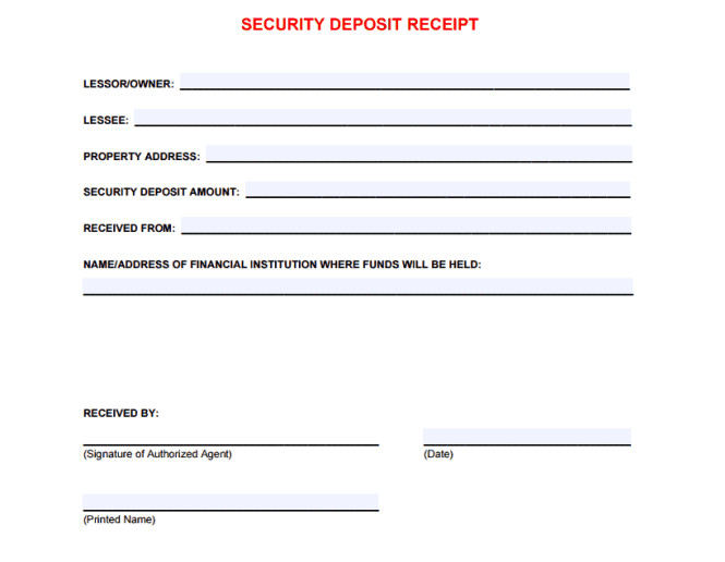 Security Deposit Receipt Template 5 Free Security Deposit Receipt Templates Word Excel