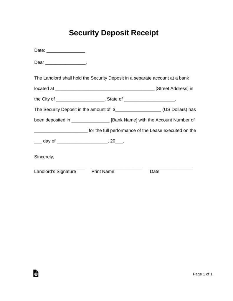 Security Deposit Receipt Template Free Security Deposit Receipt Template Pdf