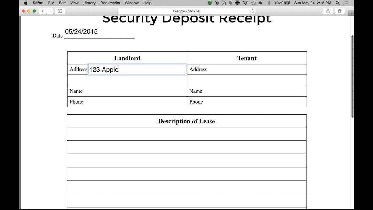 Security Deposit Receipt Template How to Write A Security Deposit Receipt form Pdf