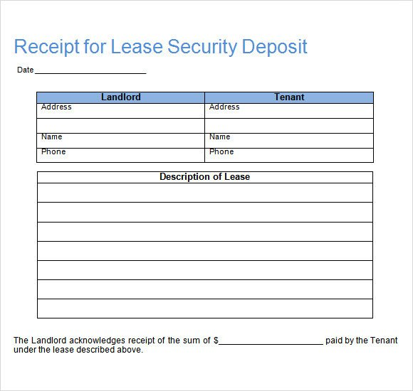 Security Deposit Receipt Template Sample Deposit Receipt 16 Free Download for Pdf Word