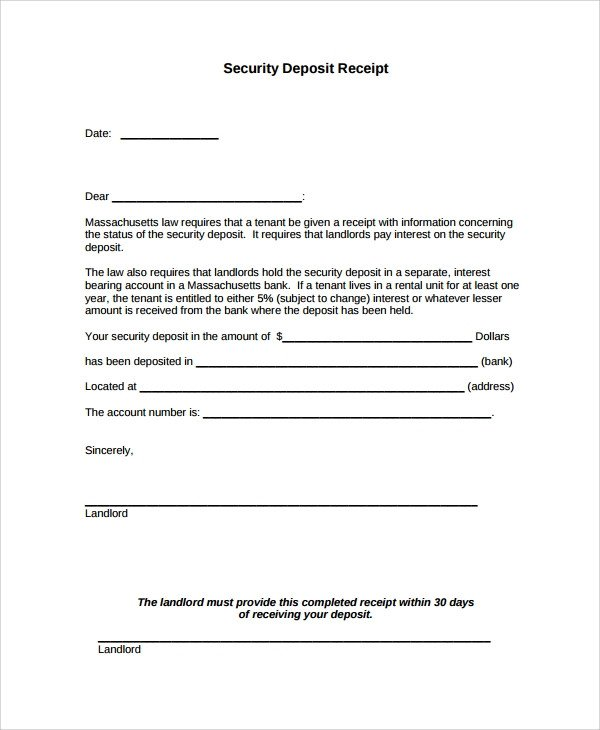 Security Deposit Receipt Template Sample Security Deposit Receipt 8 Free Documents