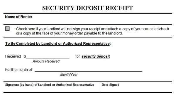 Security Deposit Receipt Template Security Deposit Receipt Templates Find Word Templates