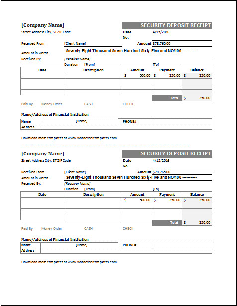 Security Deposit Receipt Template Security Receipt Template for Excel