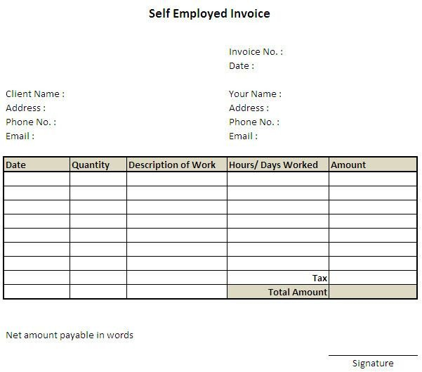 Self Employed Invoice Template 11 Self Employed Invoice Template Uk 7 Invoice