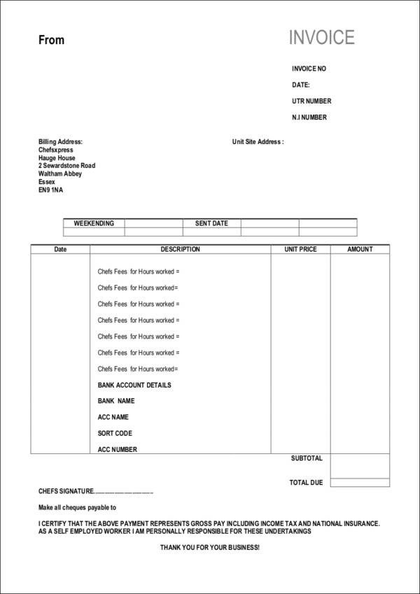 Self Employed Invoice Template Free 10 Self Employed Invoice Samples & Templates In Pdf