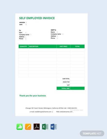 Self Employed Invoice Template Free Self Employed Invoice Template Pdf Word