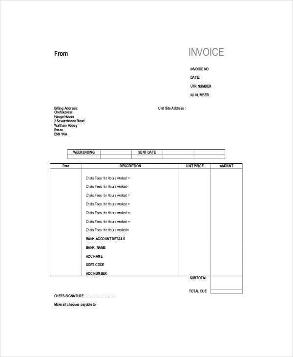 Self Employed Invoice Template Self Employed Invoice Template 12 Free Word Excel Pdf