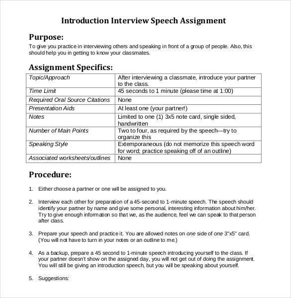 Self Intro Speech Outline 29 Speech Outline Templates Pdf Doc