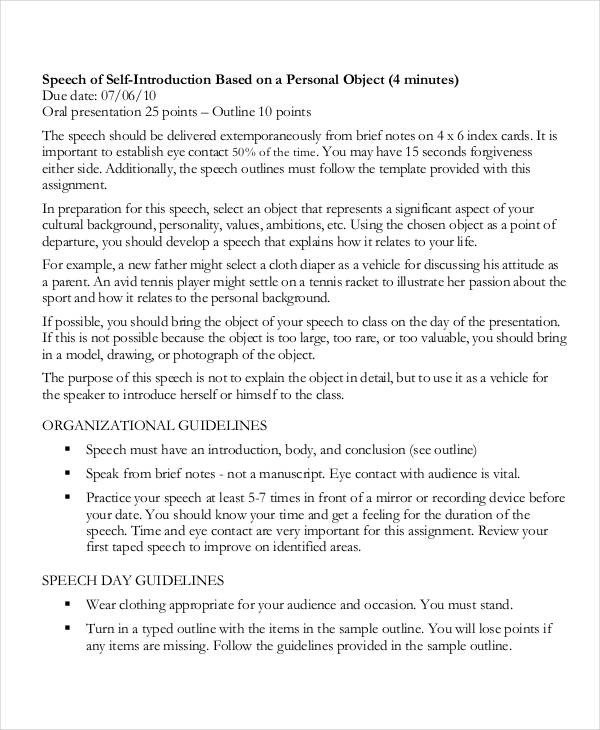 Self Intro Speech Outline 5 Self Introduction Speech Examples & Samples Pdf Word