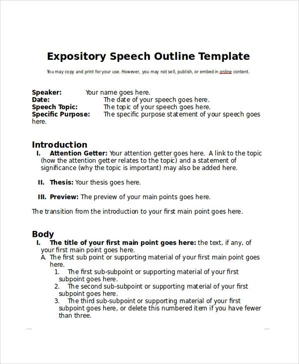 Self Intro Speech Outline Sample Speech Outline Example 7 Documents In Pdf Word