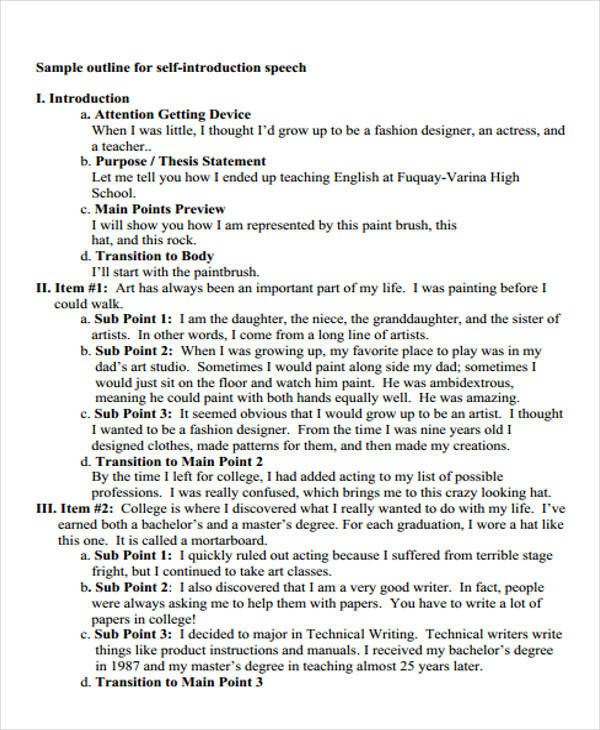 Self Introduction Speech Outline 36 Introduction Speech Examples