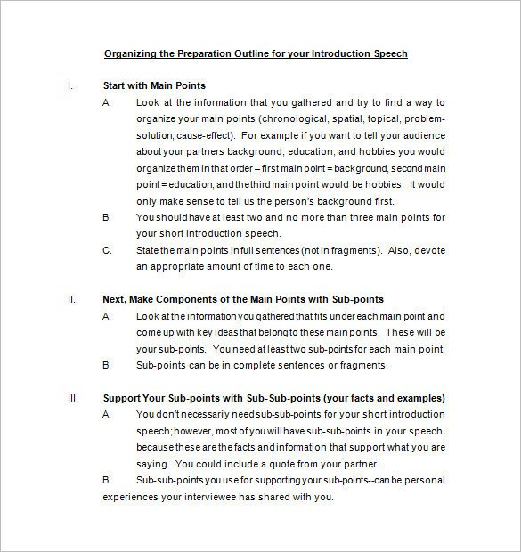 Self Introduction Speech Outline 4 Introduction Speech Outline Templates Pdf Word