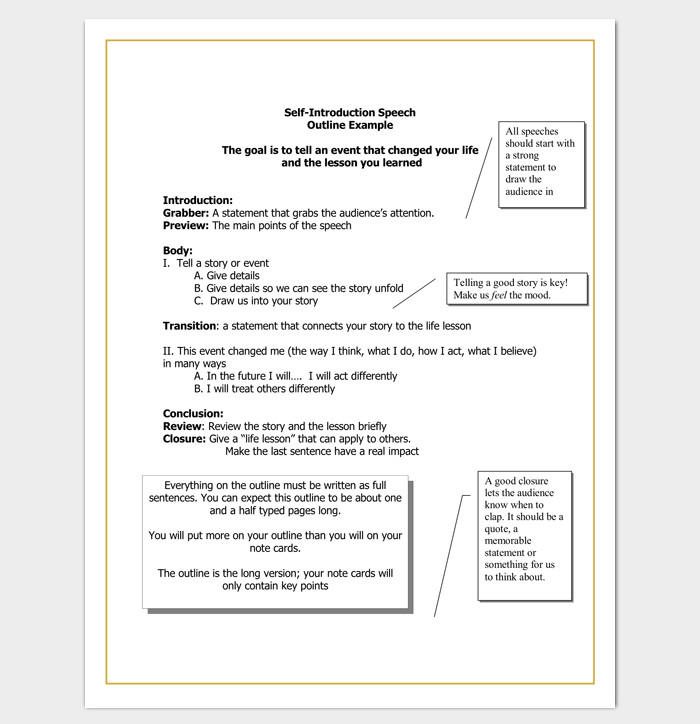 Self Introduction Speech Outline Speech Outline Template 38 Samples Examples and formats