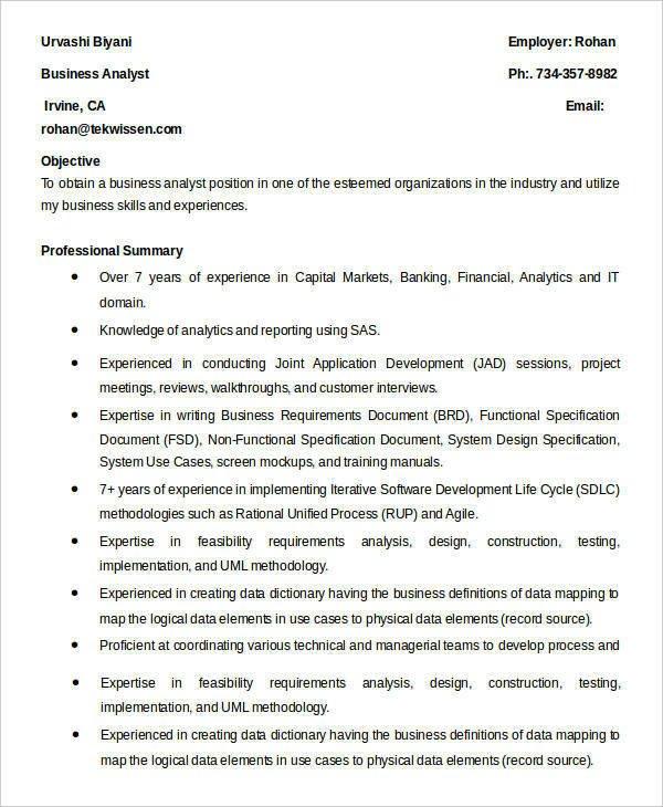 Senior Business Analyst Resume 20 Basic Business Resume Templates Pdf Doc