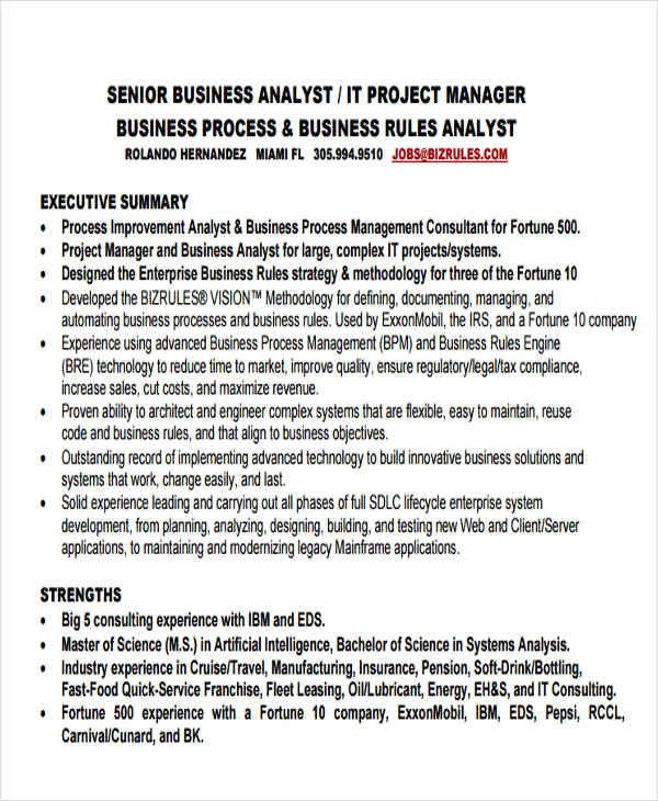 Senior Business Analyst Resume 50 Business Resume Templates Pdf Doc
