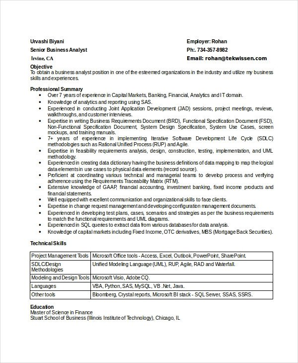 Senior Business Analyst Resume 8 Business Analyst Resumes Free Sample Example format