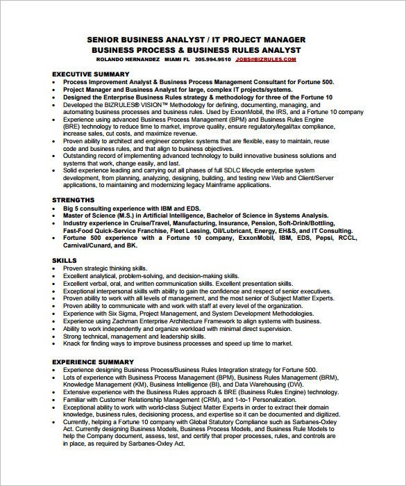 Senior Business Analyst Resume Business Analyst Resume Template – 11 Free Word Excel