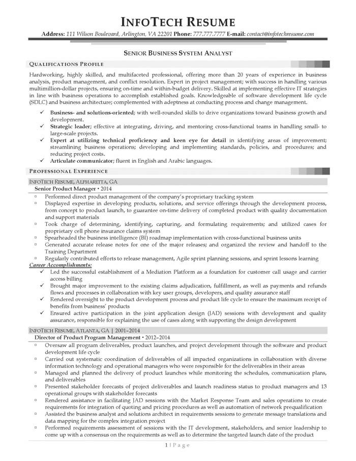 Senior Business Analyst Resume Examples Time Management Skills for Resume