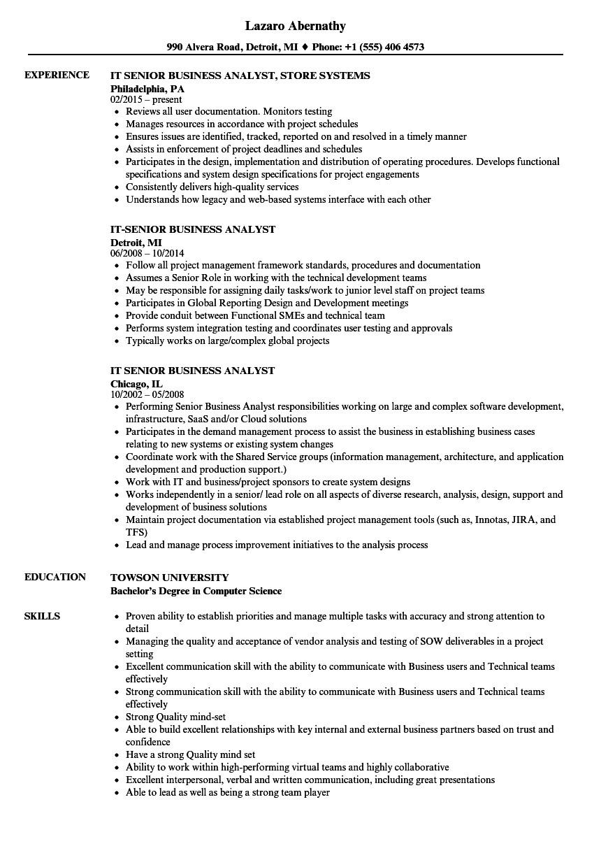 Senior Business Analyst Resume It Senior Business Analyst Resume Samples