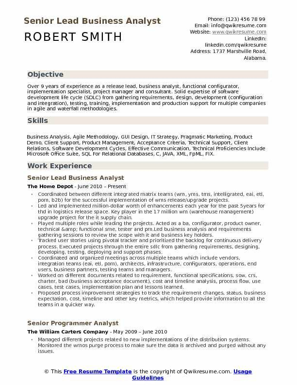 Senior Business Analyst Resume Lead Business Analyst Resume Samples